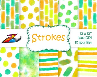 Sale Brush strokes Digital Paper commercial use polka dot background abstract pattern green yellow orange watercolor scrapbook paper