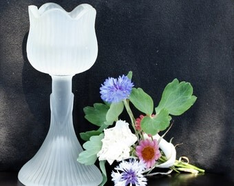 Candle Holder White Frosted Glass - Taper or Votive
