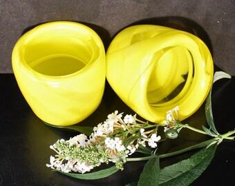 Art Glass Yellow Swirl Votive Candle Holders - Hand Blown Pair