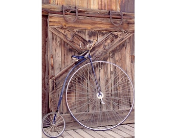 Old Bike Photo, Antique Bicycle Photograph, Rustic Decor, Gift for Bicyclist,  Gift for Men, Manly Decor, Wall Art, Neutral Tones Home Decor