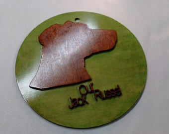 Customize pet cutout measuring 11x11 and wall mountable with name added.(c_jackrusell_11_a)