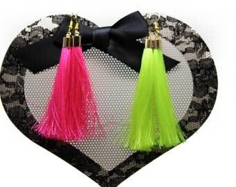 Neon Fluorescent  Long tassel earrings gold cap hook earrings Many colors Silky thread tassel earrings