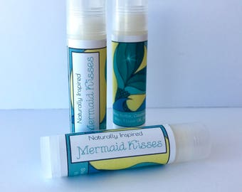 Mermaid Kisses Lip Balm, Strawberry Lip Balm, Natural Lip Balm