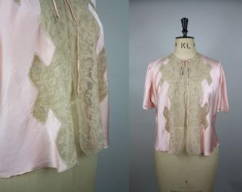 1930s Silk Bed Jacket / 30s Cotton Lace Cape / Pink Silk Satin / Embroidered Lace / Size Large / Art Deco Lingerie / M L XL XXL