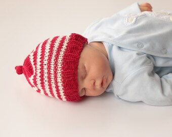 Newborn Hat, Newborn Hat Boy, Newborn Hat Girl, 0 - 3 Months Hat, Baby Hat, Striped Hat Red and White, Hand Knit Hat