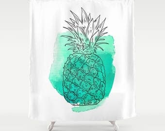 turquoise pineapple shower curtain black white shower curtain bath curtain bathroom decor