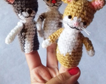 Doll for stories Cat puppet Educational game Animal puppet Child toy Cat amigurumi Handmade with love Educate by playing
