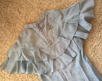 "Lovely 1930's Art Deco Vintage Antique Lt. BLUE Moire Long Bias-cut Bridesmaid Evening Dress Ruffles 30"" Waist Self-belt & Rhinestone Buckle"