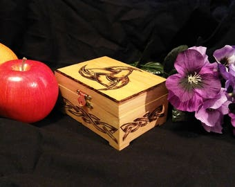 Triple Horns of Odin handburned wooden box