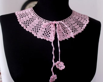 Crochet collar, Pink vintage collar, Lace Crochet Collar vintage style collar, Romantic gift for her, pink choker necklace