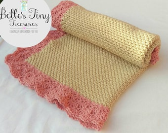 Lacy pink and cream baby blanket, crib blanket, car seat blanket, pram blanket, gifts for her, soft blanket, delicate blanket, new baby gift