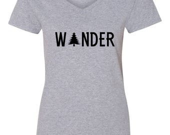 Wander Tree Camping Womens Short Sleeve V Neck T - Shirt Top