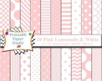 Pink Lemonade Digital Paper Pack, Instant Download Light Pink Digital Scrapbook Paper, Pink Paper for Scrap booking, Digital File