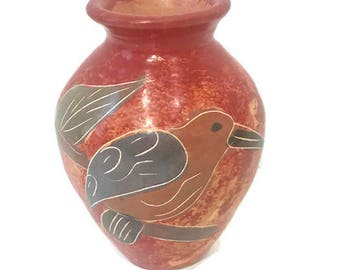 Small Terra Cotta Vase, Mexican Art Pottery, Hand Painted and Etched Design, Folk Art from Mexico