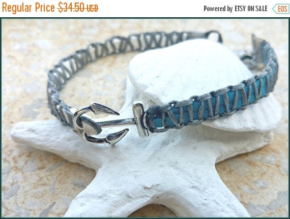 Free Shipping - Blue Anchor Anklet, Anchor Ankle Bracelet, Nautical Anklet, Leather Ankle Bracelet, Anchor Foot Cuff, Yoga Anklet, Turquoise