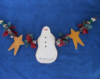 Snowman Garland, Wood Snowman, Christmas Decor, Holiday Decor, Painted Wood