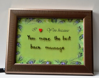 """I love You because, Dry erase frame with """"I love You because"""", birthday gift, Valentine's day, wedding gift, anniversary gift"""