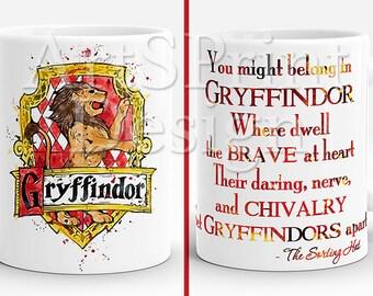Harry Potter Gryffindor Crest Quote 2 Mug  Gryffindor Crest Watercolor Art Cup Coffee Mug Gryffindor Crest Cup Harry Potter mug Gift for Her