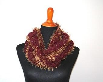 Crocheted Cowl, Variegated Maroon, Fuzzy Yarn; Crochet Cowl, Crochet Circle Cowl, Crochet Chunky Cowl, Crochet Infinity Scarf, Crochet Scarf