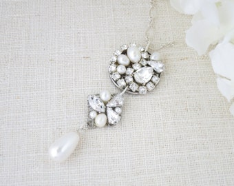 Art Deco bridal necklace, Vintage pendant necklace, Swarovski statement wedding necklace