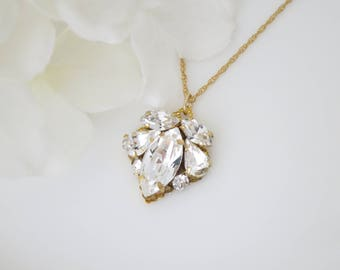 Wedding necklace, Simple vintage style rhinestone and gold bridal necklace, Swarovski crystal pendant necklace, Bridesmaid necklace