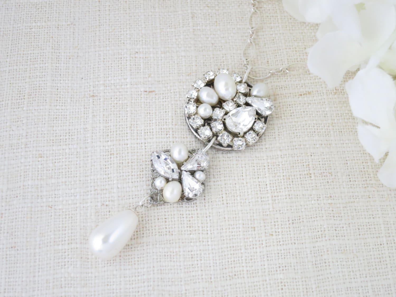 Art Deco bridal necklace, Vintage pendant necklace, Swarovski statement wedding necklace