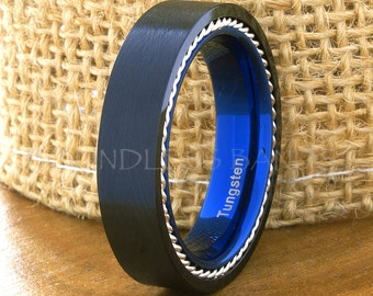 Tungsten Ring Tungsten Wedding Ring Mens Wedding Ring Promise Anniversary Engagement Comfort Fit Flat 6mm Black And Blue Tungsten Ring Rings