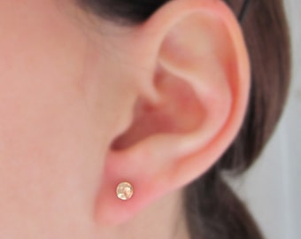 Solid Gold Studs,  14k Gold Posts, 14k Stud Earrings, Small Gold Studs, Hammered Gold Studs