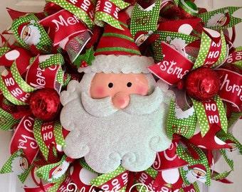 "Christmas Wreath Santa Wreath Santa Claus Christmas Wreaths Christmas Decorations Christmas  Decor Red Lime White Deco.   ""MADE TO ORDER"""