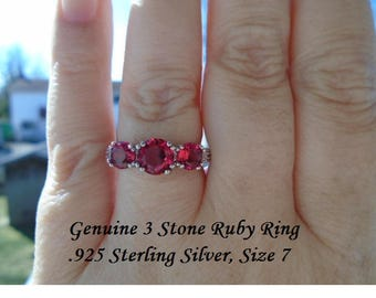 Genuine 3 Stone Blue Sapphire (Size 8) Or Ruby(Size7) Ring