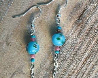 Blue Flower Lampworks Glass Bead Earrings