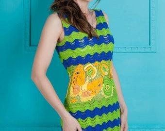 Crochet Irish Lace Dress, Crochet marine dress, striped dress, Art dress Bright dress