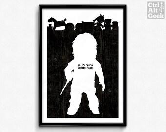 """Chucky // Child's Play, Chucky, Bride of Chucky, Wanna Play, Classic Horror Print, Chucky Poster, Chucky, A2, A3, 12x16"""", 18x24"""" Unframed"""