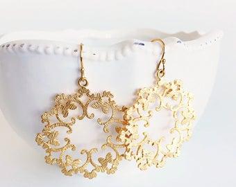 Large Gold Round Lace Filigree Dangle Earrings, Bohemian Everyday Earrings, Moroccan Earrings