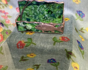 Stained Glass Business Card Holder - Bass & Cattails