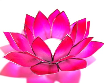 Natural Capiz Shell Pink  Lotus Tealight Holder