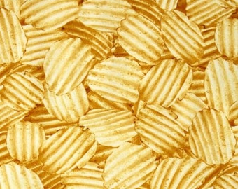 Cravings Potato Chip Fabric /  Food Fabric / Chips Material Northcott Fabrics 21182/ Yardage, Fat Quarters, by the yard