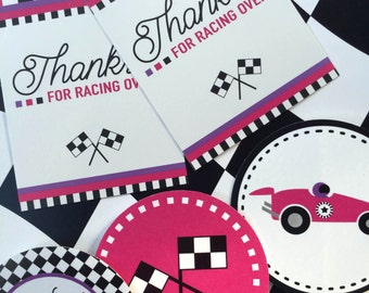 Racer Girl Party Bundle - Printable Race Car Party Kit for Girls! Pink, Black, White