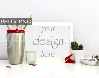 Stationery Mockup Silver Red Office Supplies Desk Styled Stock Photography Horizontal Mockup Download Frame Product Digital Background
