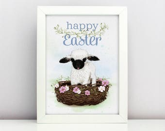 Easter Print Baby Blacknose Sheep Poster  Card Happy able Nursery Poster Adorable Baby Farm Animal Floral Nest Spring Print