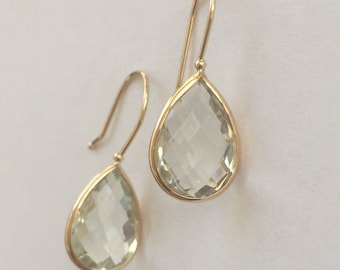 14k solid yellow gold and green amethyst  earrings, pear shaped , gemstone earrings, special price