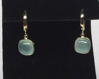14k solid yellow gold and aqua chalcedony earrings , cabochon earrings , dangle earrings