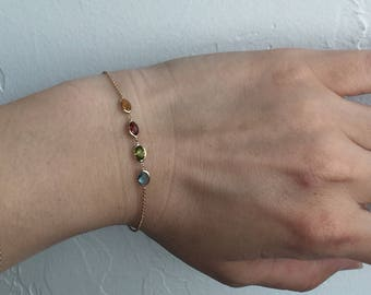 14k solid gold snd genuine gemstones bracelet , four seasons bracelet , multi colour gemstones, topaz, citrine , garnet, peridot