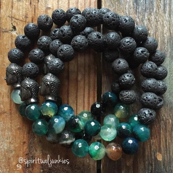 Stackable Mala Inspired Essential Oil Diffuser Lava Bead, Faceted Dragon Vein Agate + Buddha Bracelet (single bracelet)