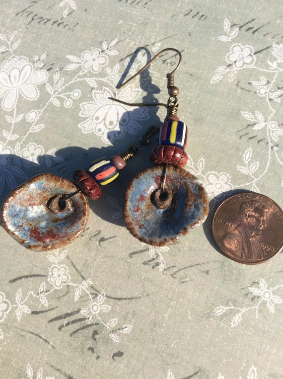 Of The Earth...Primitive Earrings, BohoStyle, Hipster, Earthy, Stoneware Clay, Artisan Made, OOAK, JustSlightlyVintage