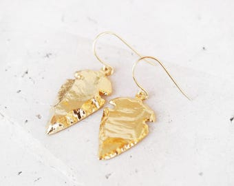 gold arrowhead earrings, gold arrow earrings, gold tribal earrings, southwestern earrings