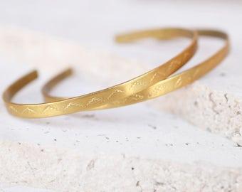 brass tribal cuffs, gold stacking cuff, stamped cuff, stacking bracelet