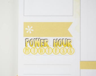 36 Power Hour Daily Habit Stickers  | Planner Stickers designed for use with the Erin Condren Life Planner | 0691