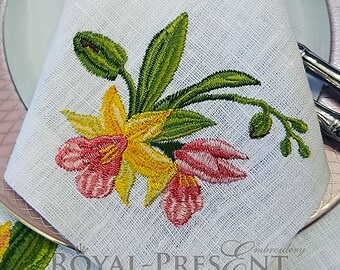 Machine Embroidery Design Tropical orchid flowers