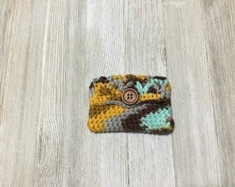 crochet change purse, handmade girls wallet, crochet gift card holder, credit card case, change purse, purse accessory,